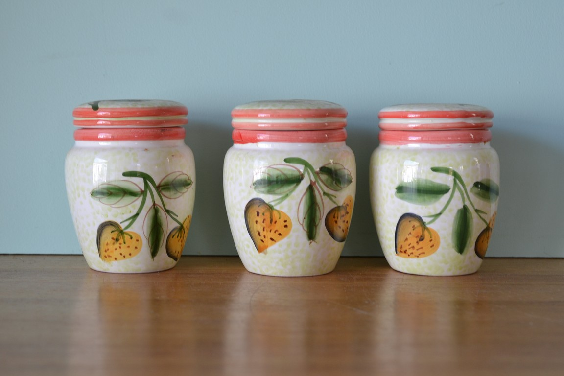 vintage ceramic kitchen canisters italy 3195 funky flamingo tea coffee sugar canister set blue vintage style kitchen