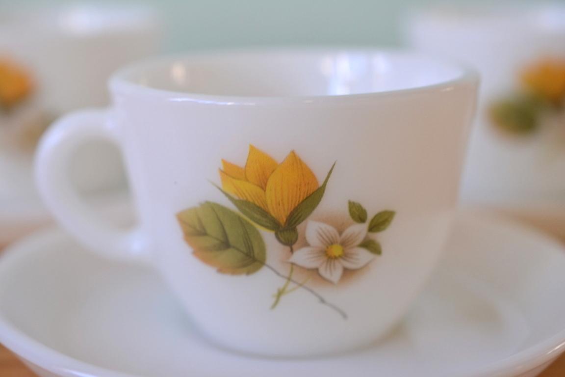Vintage Milk Glass Tea Cup Saucer Gt6 Funky Flamingo