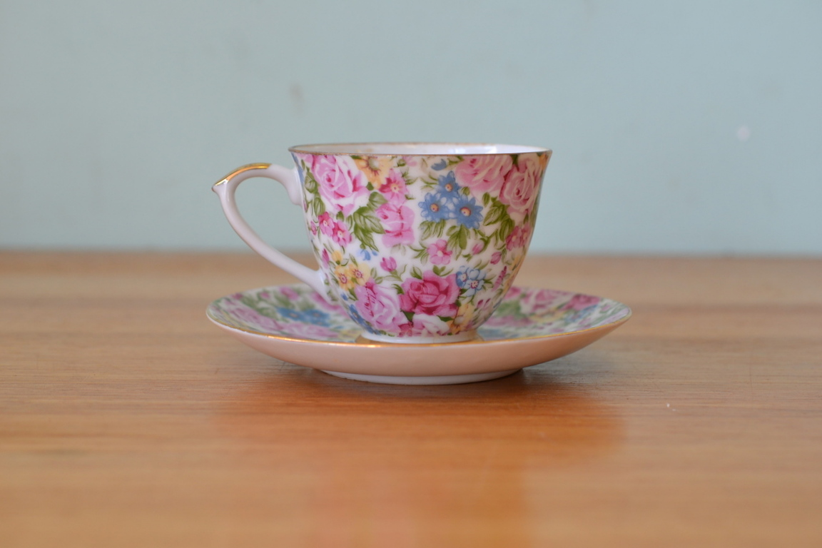 Vintage Duo Tea Cup Saucer Flowers Fine China Dplw