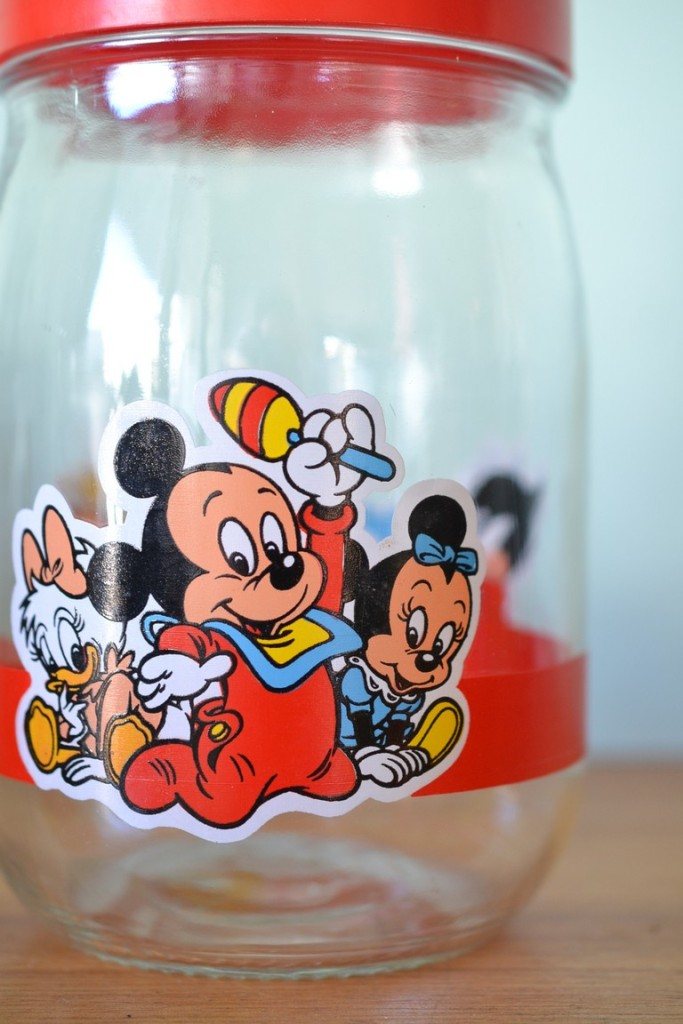 Vintage Disney Baby Characters Glass Jar Mickey Mouse