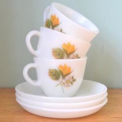 Vintage Milk glass tea cup and saucer yellow flower