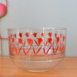 Vintage glass mixing bowl with red flowers