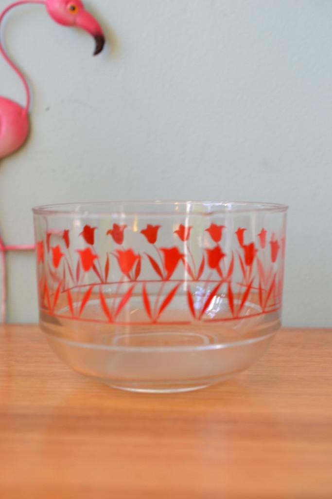 red flower glass bowl 1