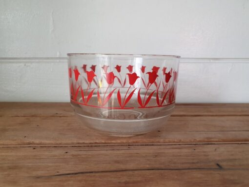 Vintage  glass small kitchen  bowl red tulips YLBT15