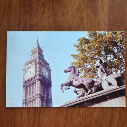 Vintage Postcard 1965 Boadicea Statue and Big Ben London