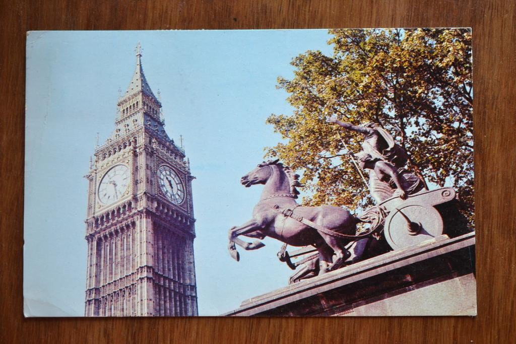 Vintage Postcard 1965 Boadicea Statue and Big Ben London
