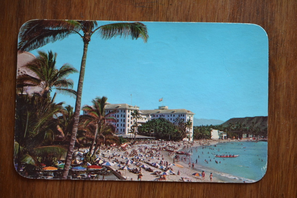 Vintage Postcard 1965  Waikiki beach and the Moana Hotel