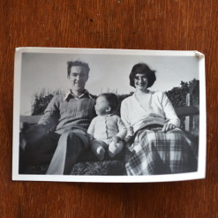 Vintage Black & White photo boy Child baby mother and father family