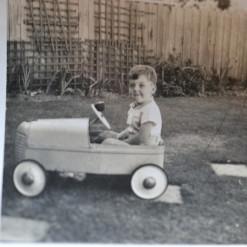 Vintage Black & White photo Toddler Child billy cart