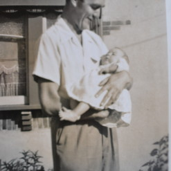 Vintage Black & White photo father and baby