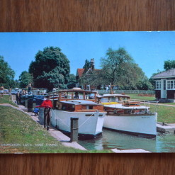 vintage postcard Shepperton Lock River Thames