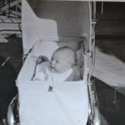 Vintage Black & White photo baby in a pram