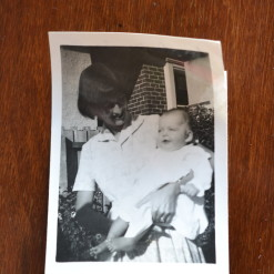 Vintage Black & White photo mother and baby