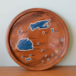 Vintage mid century wooden drinks tray Fiji Islands
