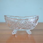 Vintage pressed glass boat dish cut glass tableware
