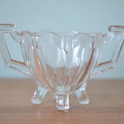 Vintage bowl Art Deco cut glass glassware dish condiment