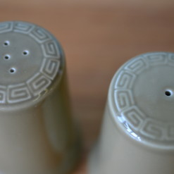 Mid century green ceramic salt & pepper shakers Armitage