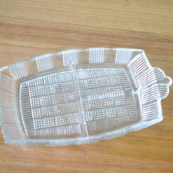 Vintage cut glass dish serving nibbles tray tableware