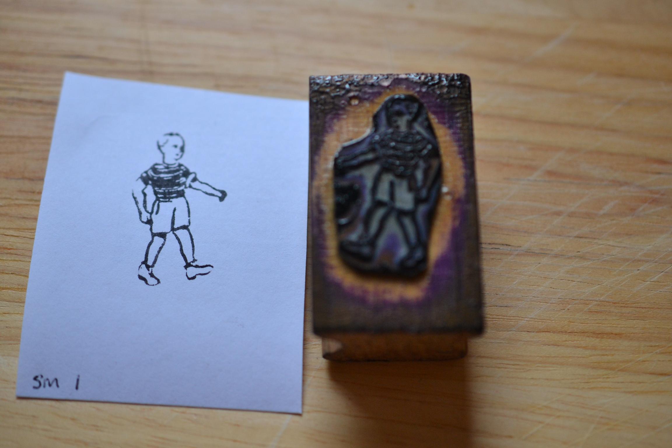 Vintage Wooden Rubber Ink Stamp Little Boy 50s Sm1 No 676
