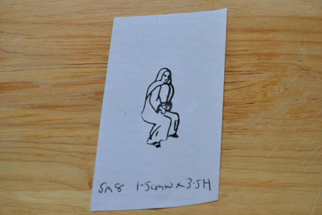Vintage Wooden Rubber Ink Stamp Nun Religious Lady Sm8 No