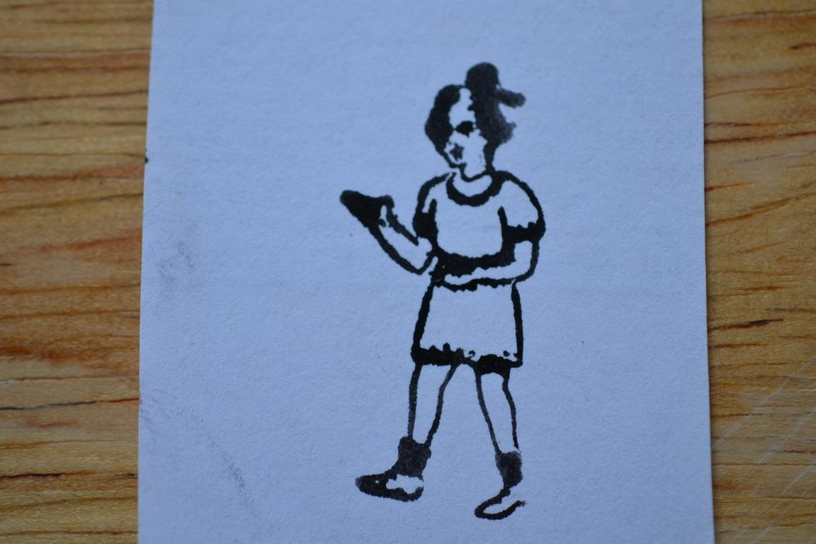 Vintage Wooden Rubber Ink Stamp Little Girl Sm16 No No