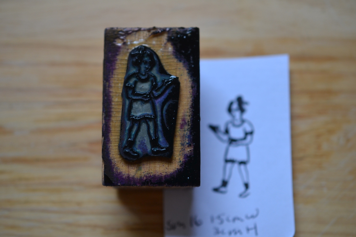Vintage Wooden Rubber Ink Stamp Little Girl Sm16 No No