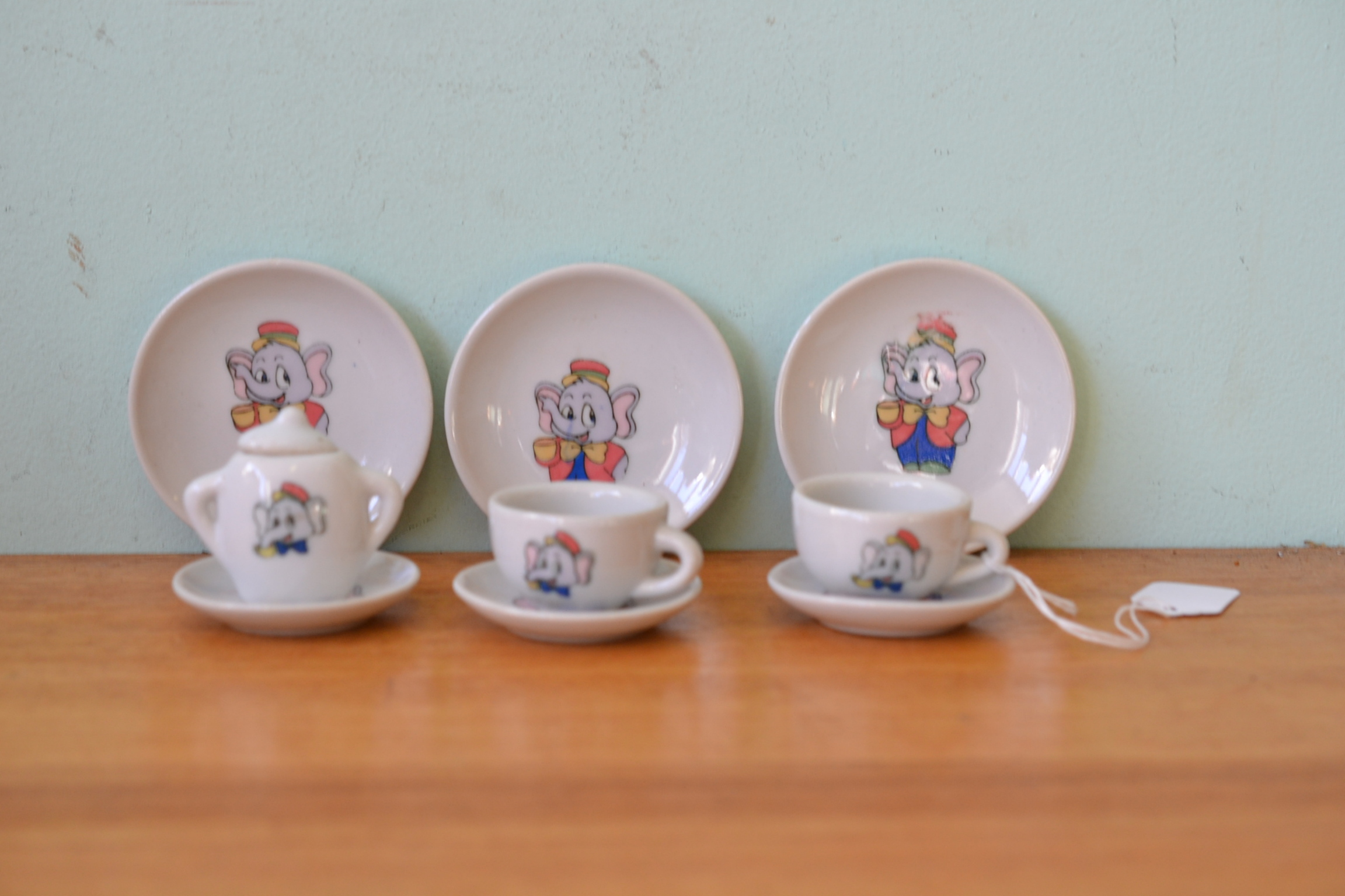 Vintage Ceramic Dumbo Miniature Tea Cup Saucers Sugar