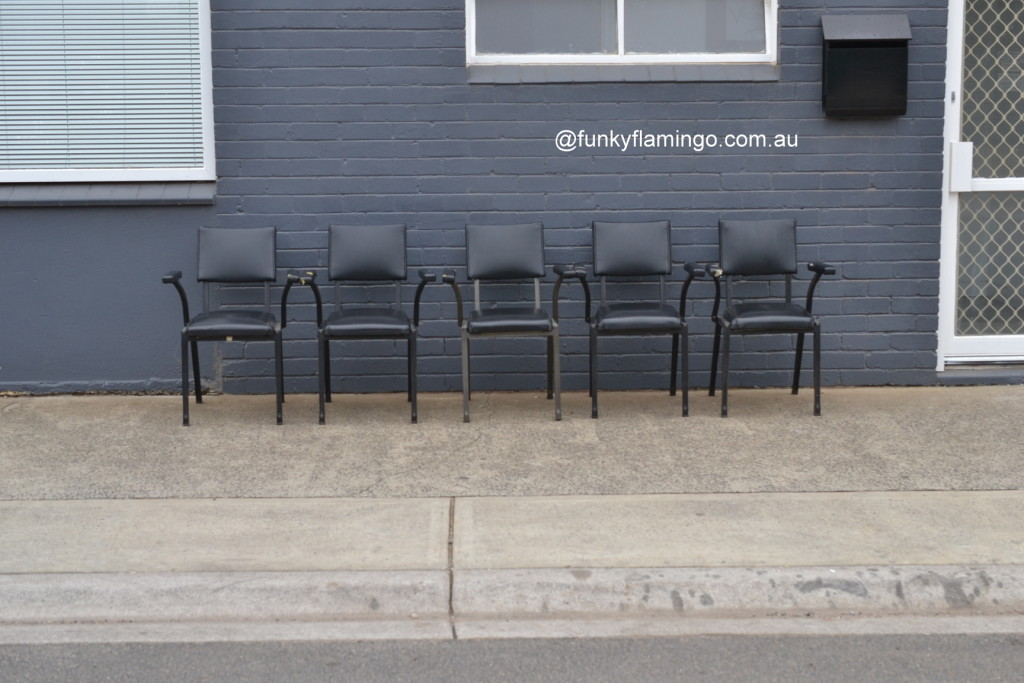 Vintage Mid century 5 x black dining / kitchen chairs heavy metal arm chairs