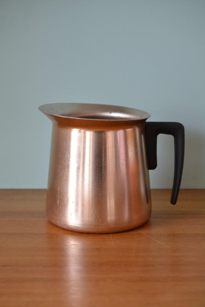 Vintage anodised pink/apricot jug