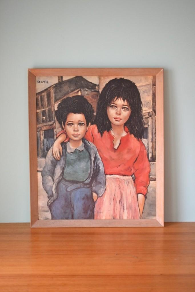 Vintage Etienne Roth Print Brother & Sister Big eye art