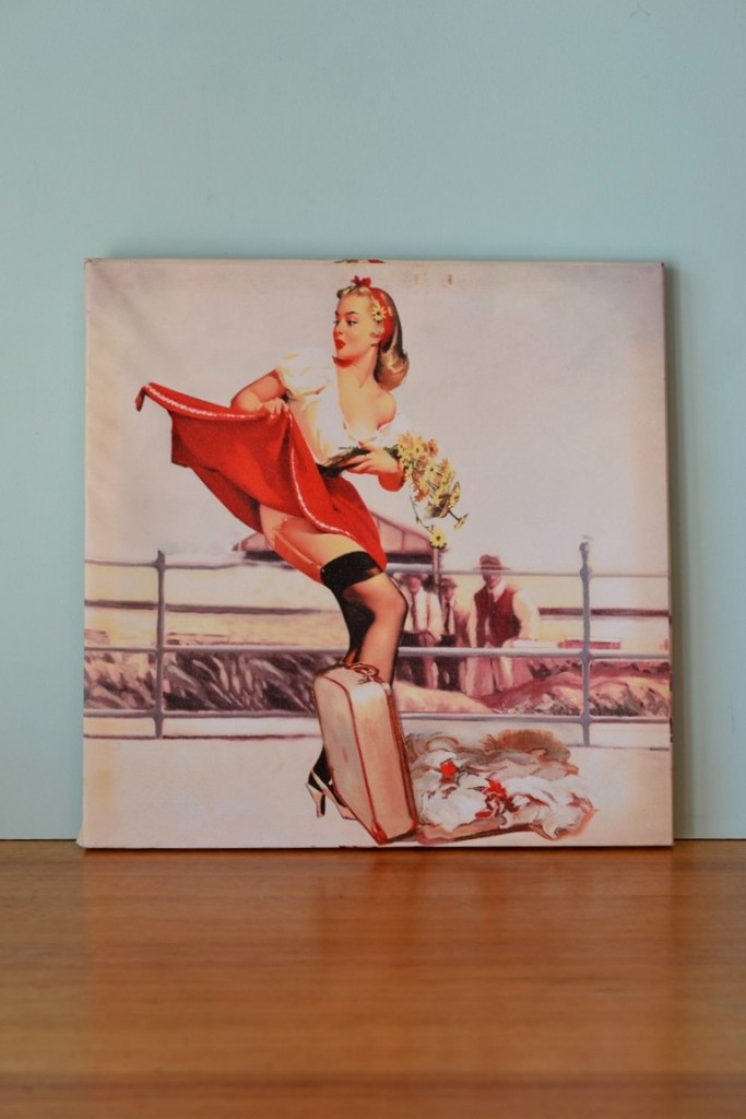 Vintage Pin up girl with daisies print Canvas  3195