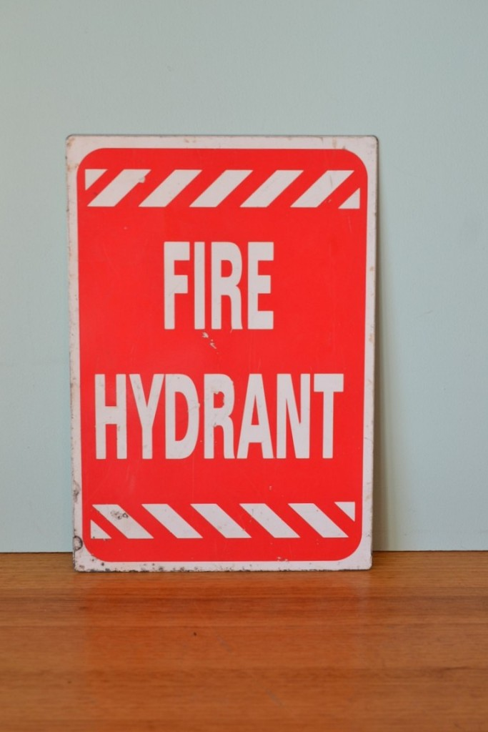 Vintage Metal Fire Hydrant Sign Blue scope 3195