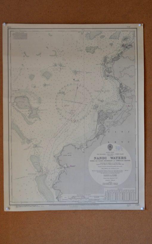 Vintage map Fiji Islands Nandi waters Original 1969