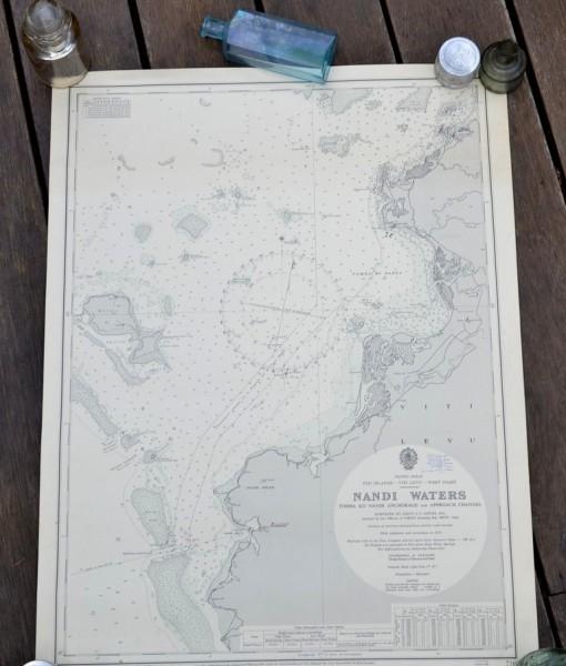 Vintage map Fiji Islands Nandi waters Original 1968