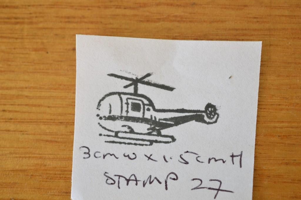Vintage Wooden rubber helicopter stamp 27