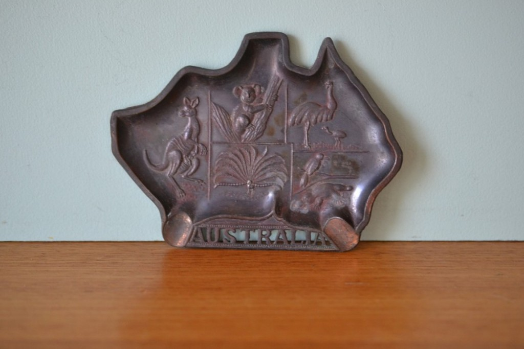 Vintage Australiana Ashtray  pressed tin metal
