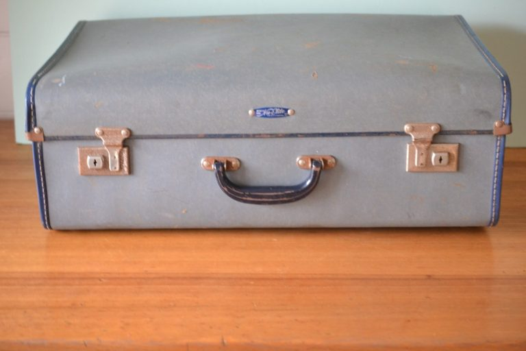 Vintage New Lite luggage suitcase  display blue