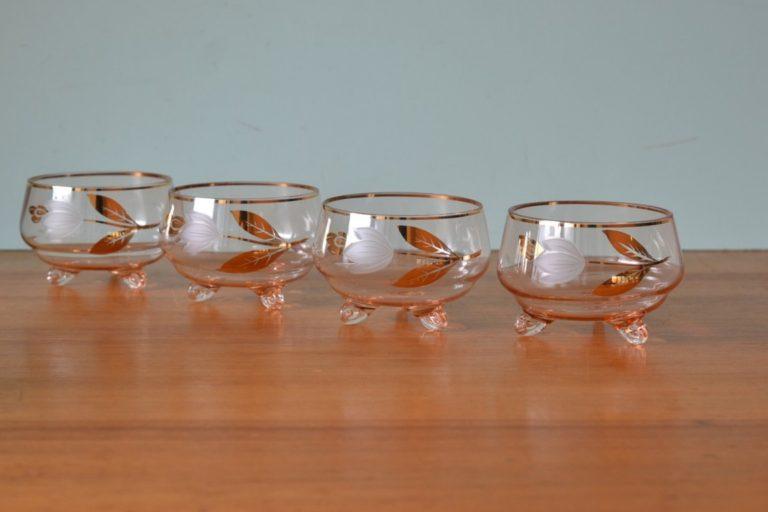 Vintage pink dessert bowls Parfait flowers x4