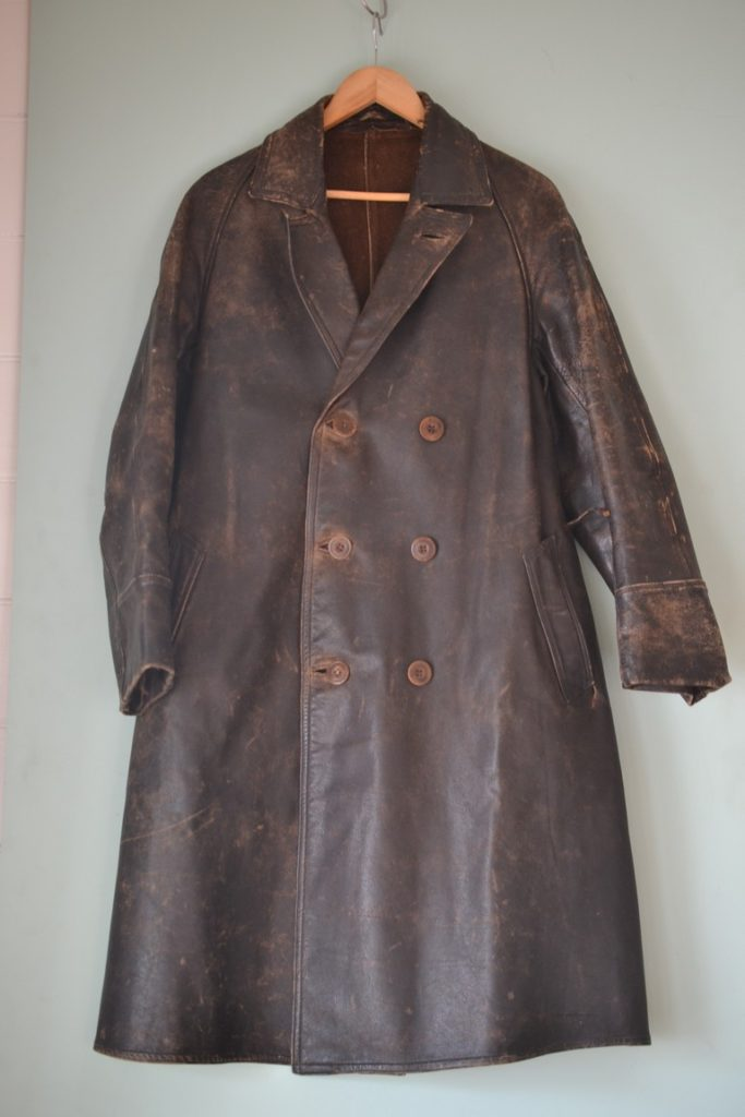 Vintage WWI military leather jacket trench coat