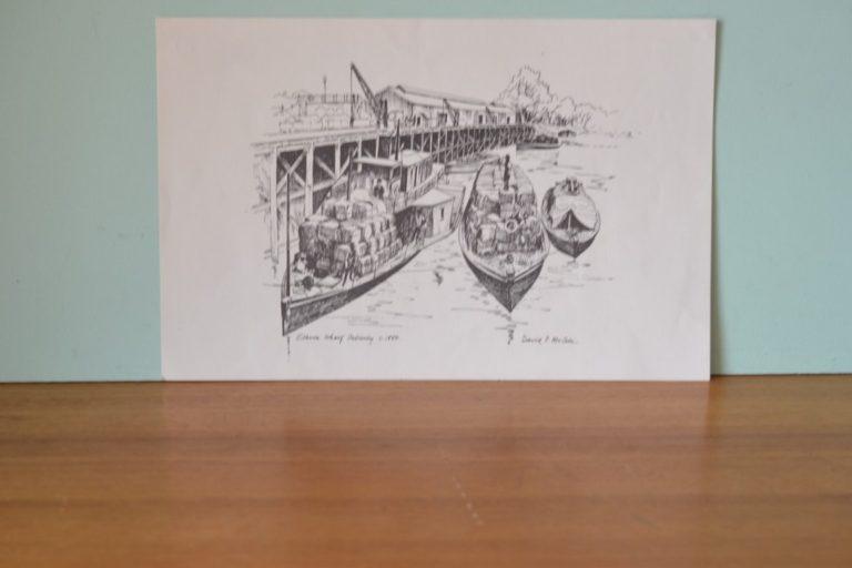 Vintage print  Echuca Wharf activity David p McCabe 1880
