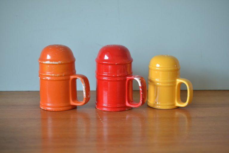 Vintage Large Salt and pepper ceramic shakers retro