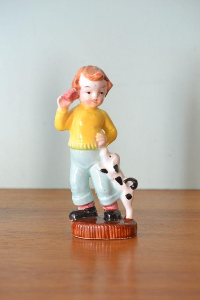 Vintage ceramic boy  50s  pepper shakers Japan