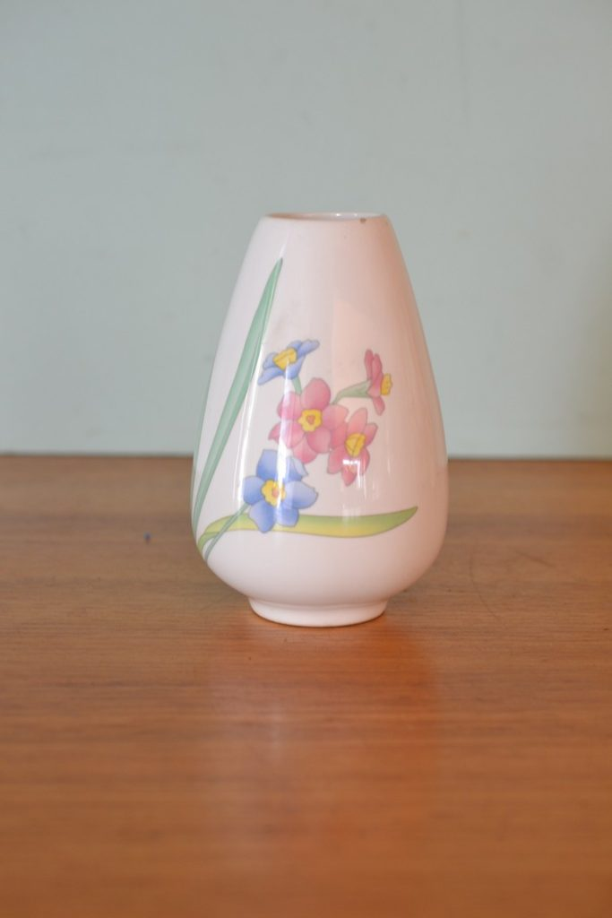 Vintage ceramic Vase blue pink flowers