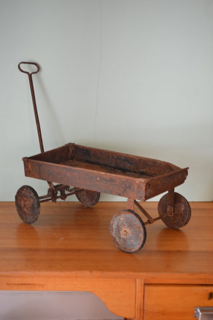 Vintage antique metal childs wagon trolley