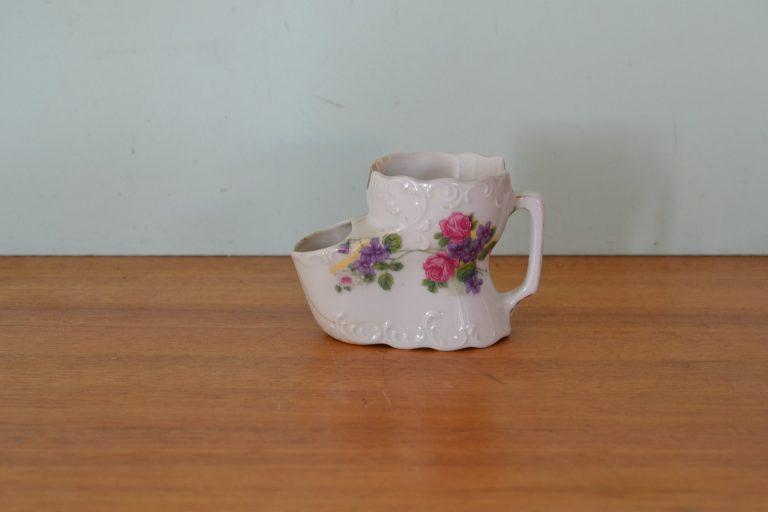 Antique shaving cup ceramic Czechoslovakia flowers