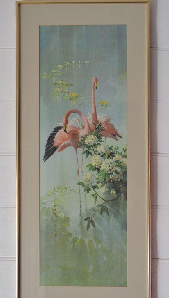 Vintage Vernon Ward Framed Glass Flamingo Print Lot 2