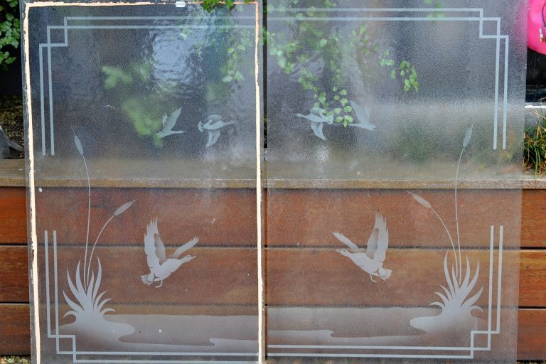 Vintage etched frosted glass window panel insert flying ducks geese x2