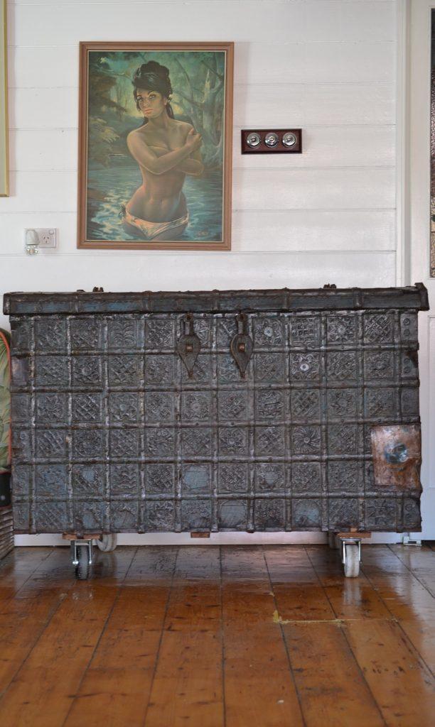 Vintage Huge Antique old wooden chest pressed metal