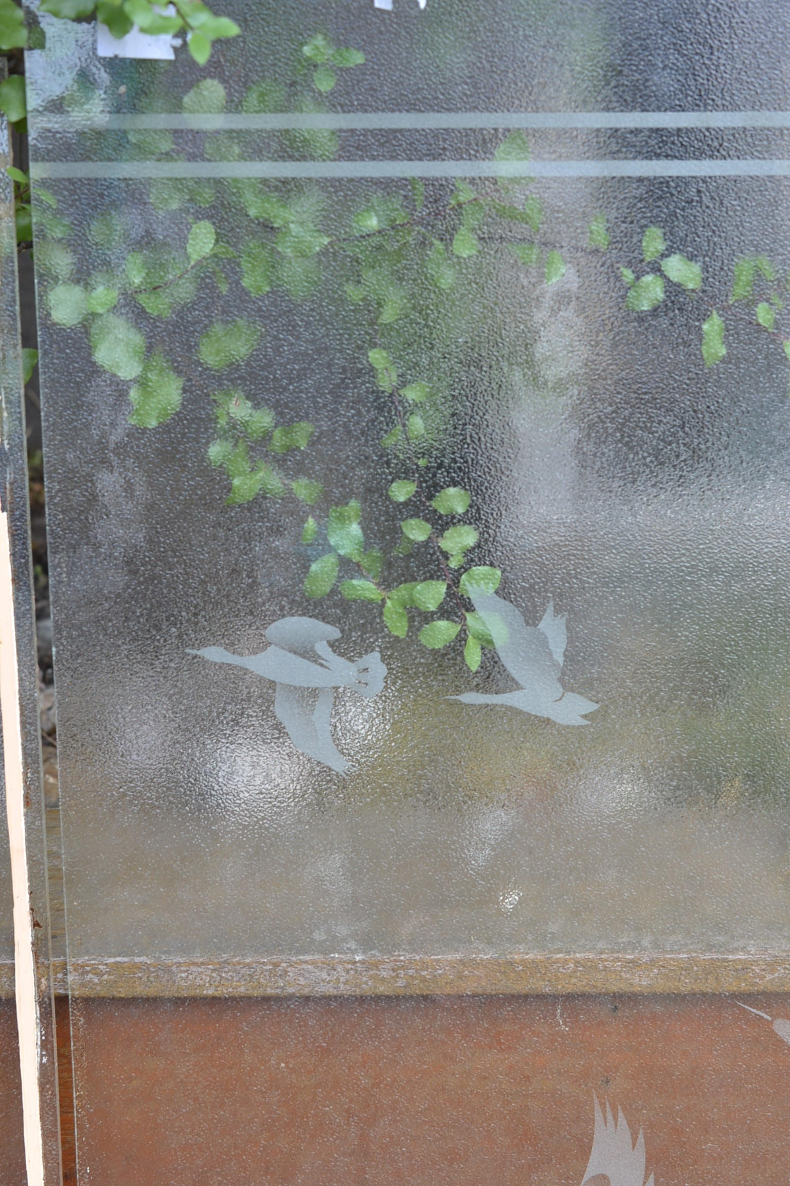 Vintage Etched Frosted Glass Window Panel Insert Flying