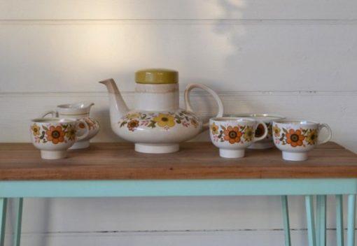 Vintage 1960s Ridgway ironstone tea set Harvest gold